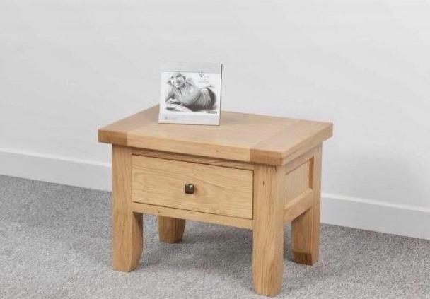 Abbie oak side table with drawer main