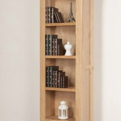 abbie oak tall narrow bookcase