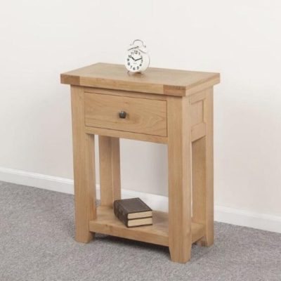 Abbie small solid oak console table main