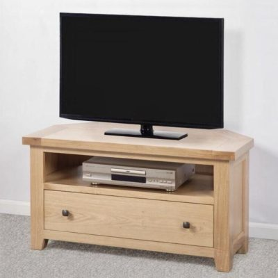 Abbie solid oak corner tv unit main