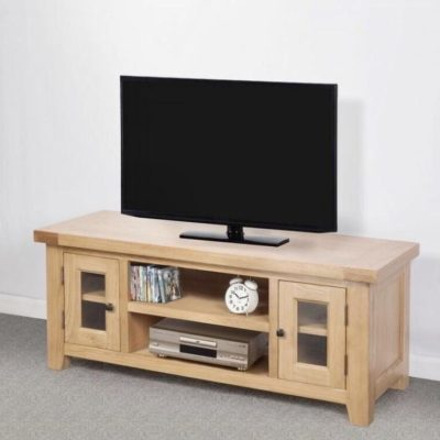 Abbie solid oak large tv unit main