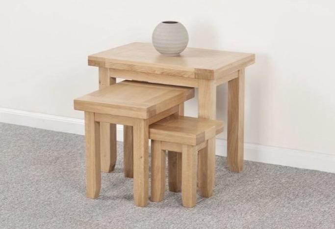 Abbie solid oak nest of tables main