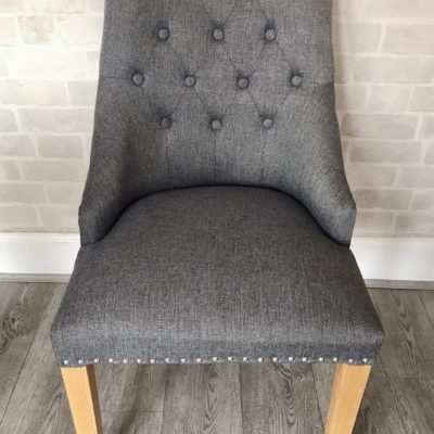 Fabric scoop dining chair with oak legs main