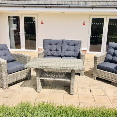 bermuda stone grey 4 seater reclining rattan dining set