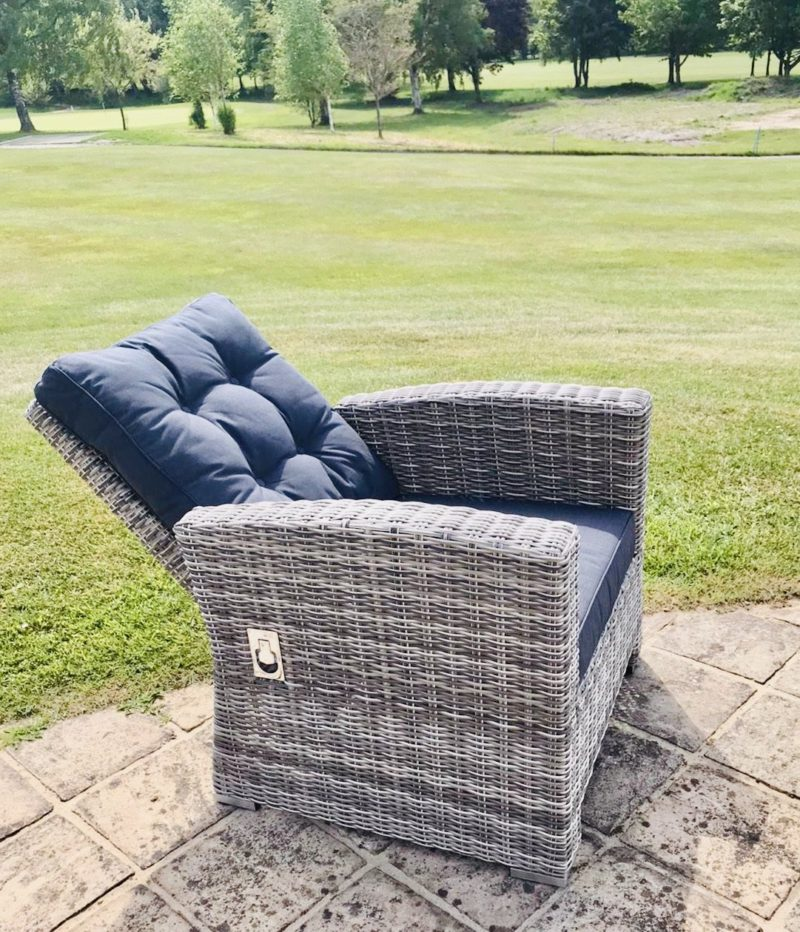 bermuda stone grey four seater reclining chair to dining set