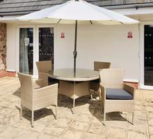 havana mixed sand four seater rattan outside dining set