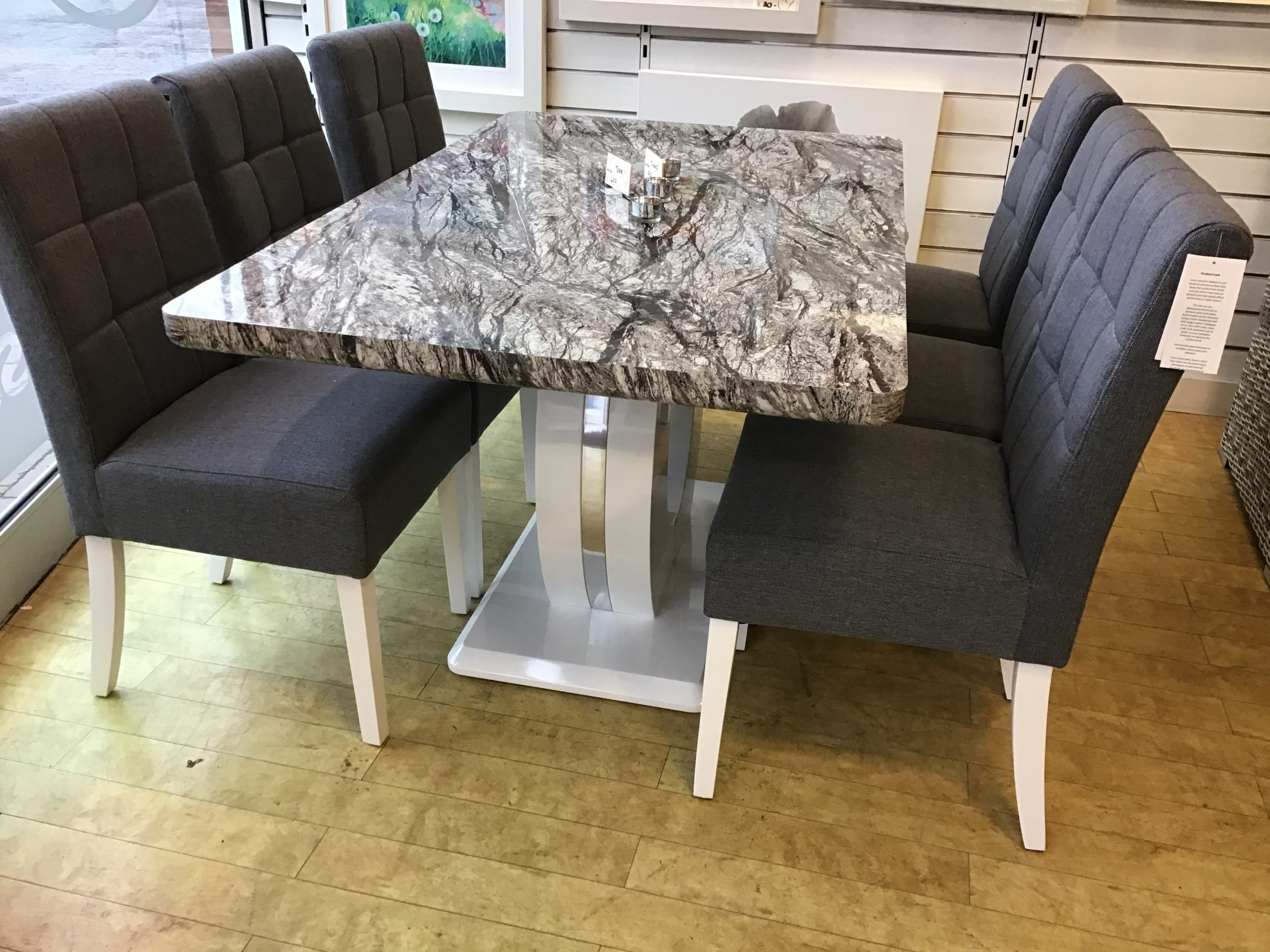 Athens Marble Effect Table With Polished White Base